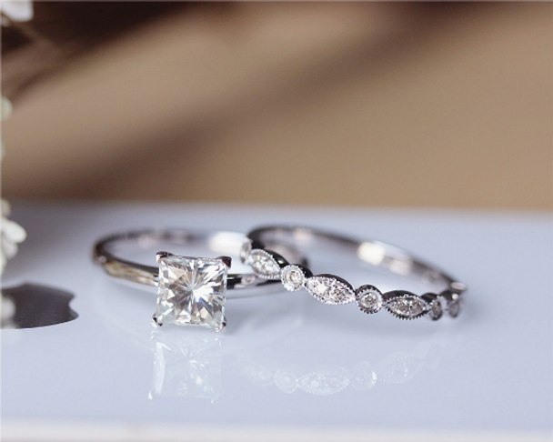 Princess Cut Forever Classic Moissanite Engagement Ring Set Solid 14K White Gold Wedding Ring