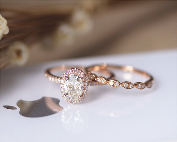 5x7mm 1ct Oval Forever Classic Moissanite Ring Set Wedding Ring Set Solid 14K Rose Gold Ring Set