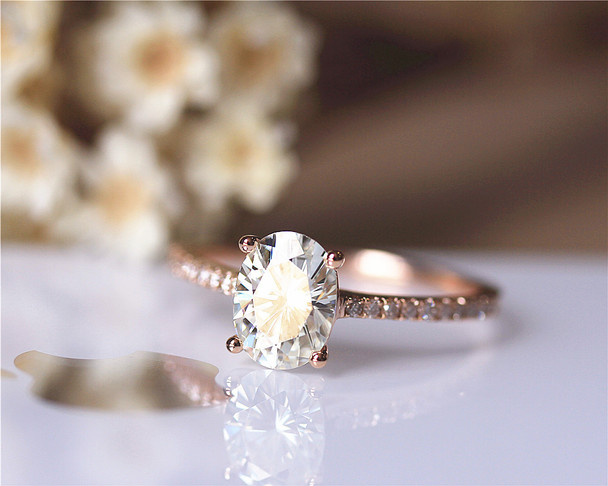 7x9mm 2.1ct Charles & Colvard Moissanite Engagement Ring Solid 14K Rose Gold Moissanite Ring