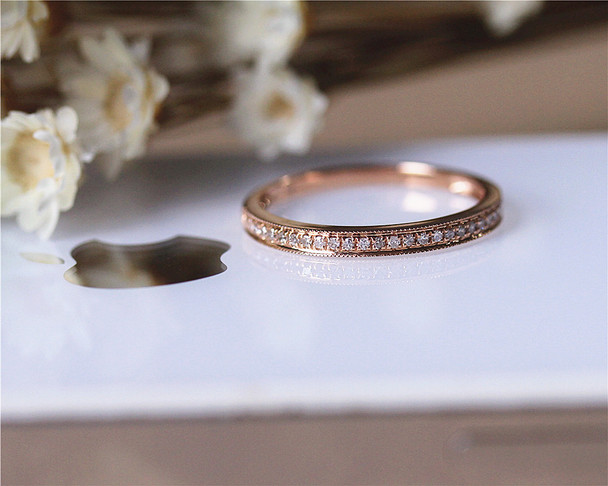 Solid 14K Rose Gold Ring Diamond Engagement Band Natural Diamond Wedding Band