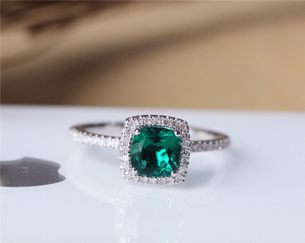 6mm Cushion Emerald Ring Solid 14K White Gold Wedding Ring Emerald Engagement Ring
