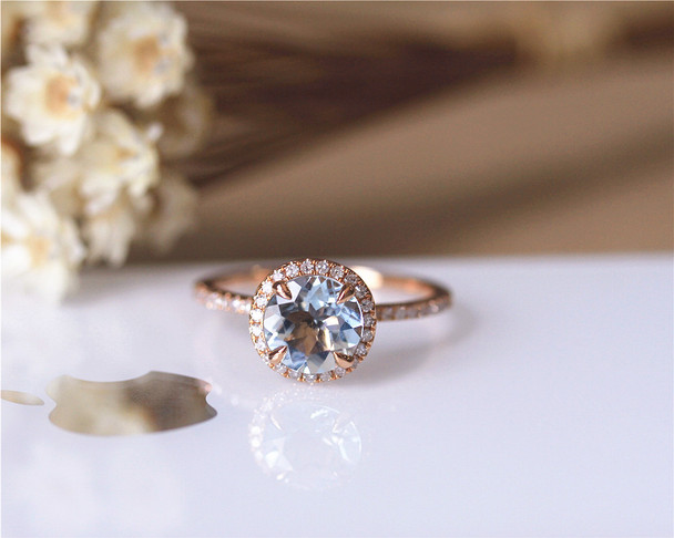 7mm Round Cut Aquamarine Ring Solid 14K Rose Gold Engagement / Wedding Ring