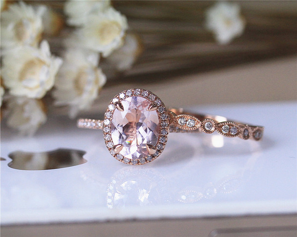 Wedding Ring Set Solid 14K Rose Gold Ring Set Oval Morganite Ring Set Diamond Ring Set