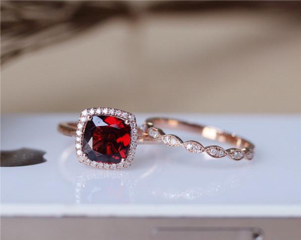 8mm Cushion Garnet Ring Set Solid 14K Rose Gold Wedding Ring Set Engagement Ring Set