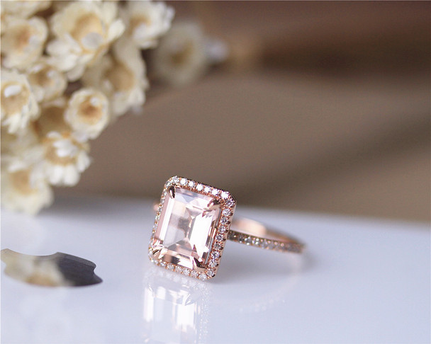 1.7ct Emerald Cut 7x9mm Natural Morganite Ring Engagement Ring Solid 14K Rose Gold Ring