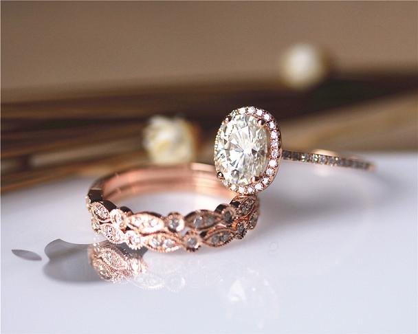 3PCS Ring Set ! 6x8mm Oval Moissanite Ring Set Wedding Ring Set Solid 14K Rose Gold Ring Set