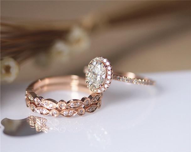 1ct CC Moissanite 3PCS Ring Set Engagement Ring Set Solid 14K Rose Gold Ring Set