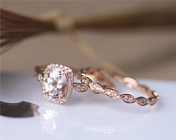 Unique 2PCS Solid 14K Rose Gold Engagement Ring Set Oval Natural Morganite Ring Set