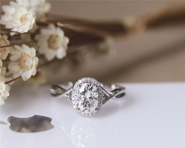 6x8mm Charles & Colvard 1.5ct Oval Moissanite Engagement Ring Solid 14K White Gold Ring