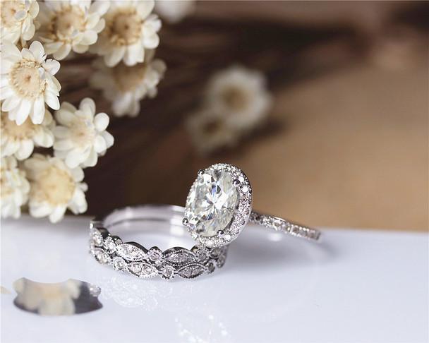 3 PCS! 2.1ct Charles & Colvard 7x9mm Oval Moissanite Ring Set Wedding Ring Set Solid 14K White Gold Ring Set