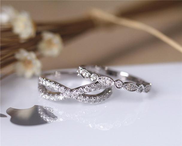0.6ct Real Diamonds Wedding Band Set Wedding Ring Set Solid 14K White Gold Diamond Engagement Set