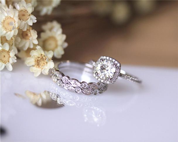 Three Rings! 1ct Moissanite Engagement Ring Set Solid 14K White Gold Wedding Ring Set