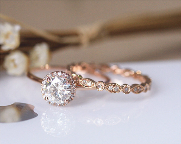7mm CC Moissanite Engagement Ring Set Solid 14K Rose Gold Wedding Ring Set Moissanite Ring Set