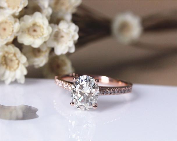 2.1ct  Charles & Colvard Forever Brilliant Moissanite Engagement Ring Solid 14K Rose Gold Moissanite Ring