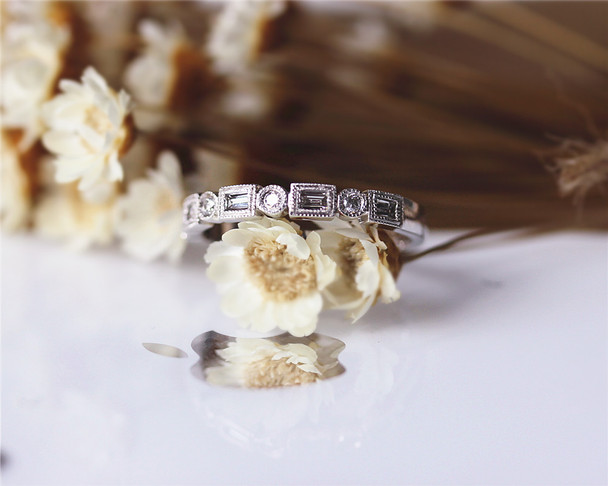 Baguettella and Round Diamond Ring White Gold Ring Diamond Half Eternity Ring Baguette Engagement Ring