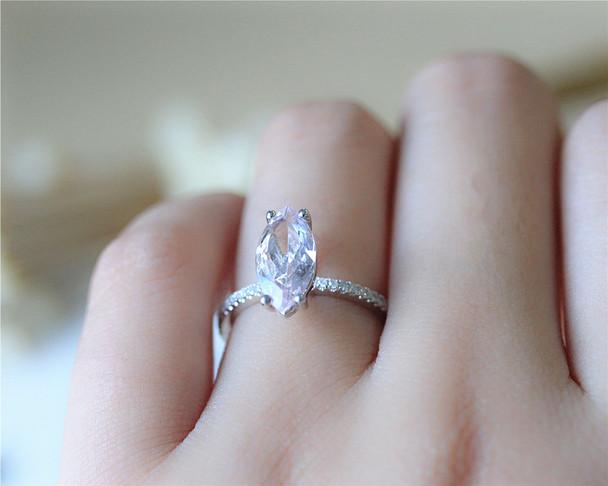 1.2ct Marquise Morganite Ring Morganite 14K White Gold Ring Engagement Ring Solid Wedding Ring