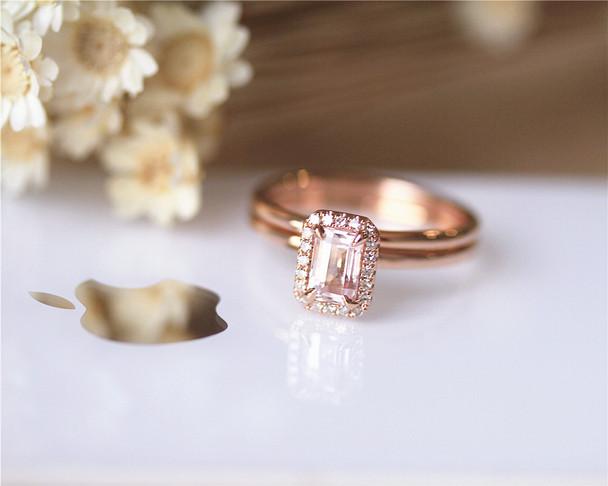 2PCS Emerald Cut Morganite Ring Set Solid 14K Rose Gold Ring Set Engagement Ring Set Diamond Ring Set