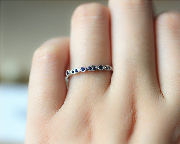 Birthday gift Natural Blue Sapphire Band Milgrain Wedding Band Solid 14K White Gold Engagement Band Half Eternity