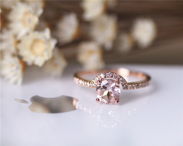 14K Rose Gold Ring Natural Pink VS Round Morganite Ring Engagement Ring Wedding Ring