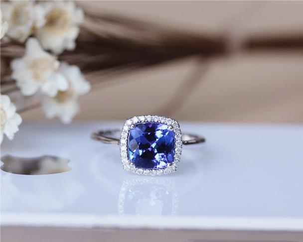 8mm Cushion Tanzanite Ring Solid 14K White Gold Wedding RingTanzanite Engagement Ring
