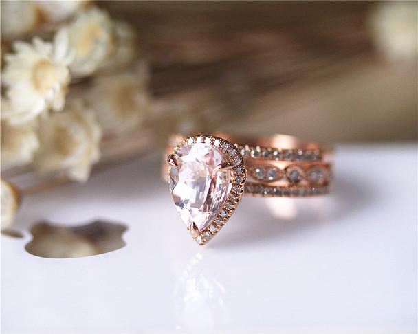 3PCS Wedding Ring Set Solid 14K Rose Gold Ring Set Pear Morganite Ring Set Diamond Ring Set