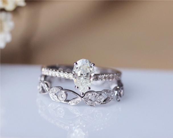 Pear Cut Forever Brilliant Moissanite Engagement Ring Set Solid 14K White Gold Moissanite Ring Set
