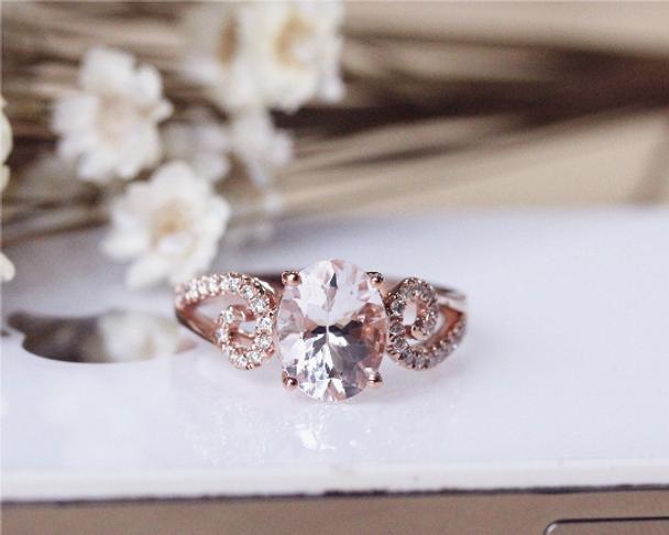 Valentine Gift Pink Morganite Ring 7x9mm Solid 14K Rose Gold Oval Morganite Engagement Ring Wedding Ring