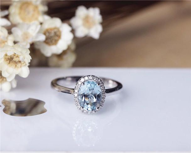 6x8mm Oval Aquamarine Ring Solid 14K White Gold Aquamarine Engagement Ring Wedding Ring