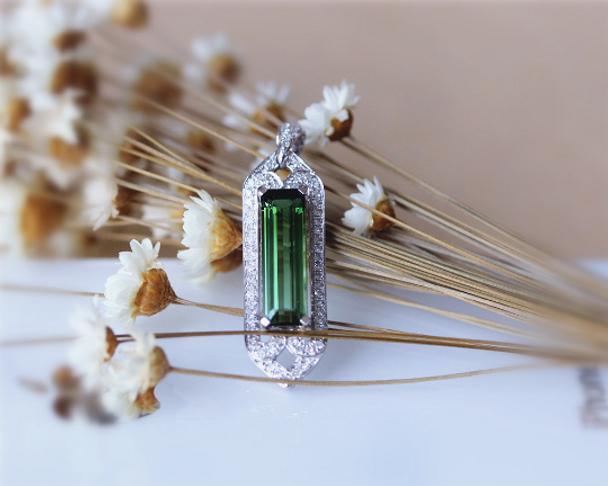 14K White Gold Emerald Cut Natural Brazil Tourmaline Pendant Luxurious Pendant Jewlery( link ONLY for pendant)