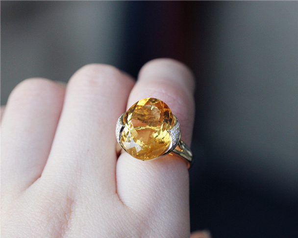 11ct Oval Citrine Ring Solid 14K Yellow Gold Citrine Wedding Ring Engagement Ring Anniversary Ring