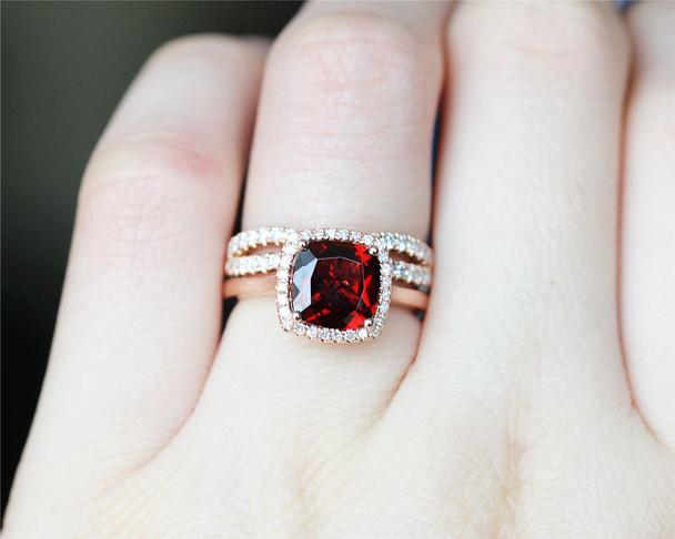 8mm Cushion Garnet Ring Set Solid 14K Rose Gold Wedding Ring Set Engagement Ring Set Bridal Set