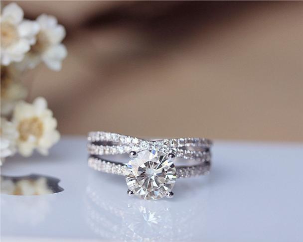 1.5ct Round Moissanite Engagement Ring Set 14K White Gold Moissanite Ring Wedding Ring Set