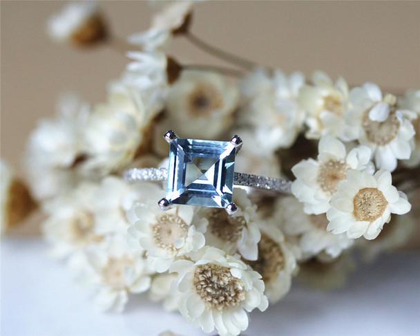7mm Prinecess Aquamarine Ring Solid 14K White Gold Aquamarine Engagement Ring Wedding Ring