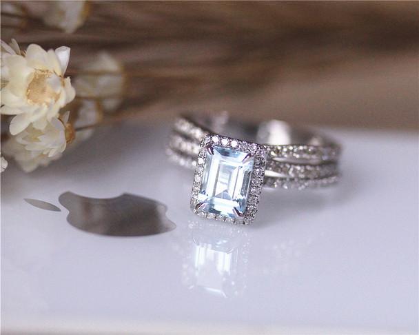 5x7mm Aquamarine Ring Set Solid 14K White Gold Aquamarine Engagement Ring Set Wedding Ring Set