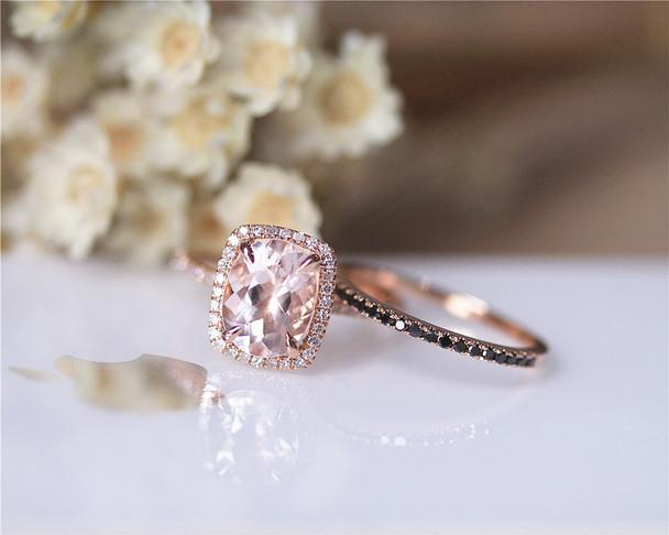 7x9mm VS Morganite Ring Set Solid 14K Rose Gold Ring Set Black Diamond Ring Set Promise Ring Set