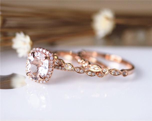 3 PCS! 7X9MM VS Morganite Ring Set Solid 14K Rose Gold Ring Set Wedding Ring Set Diamonds Ring Set