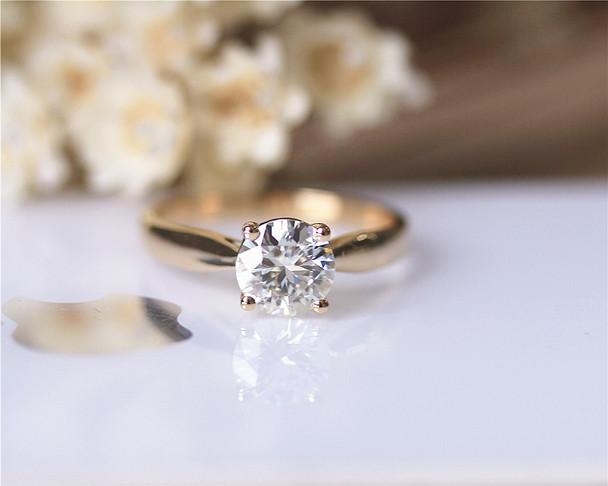 1.2ct Charles & Colvard Moissanite Engagement Ring Solid 14K Yellow Gold Moissanite Ring