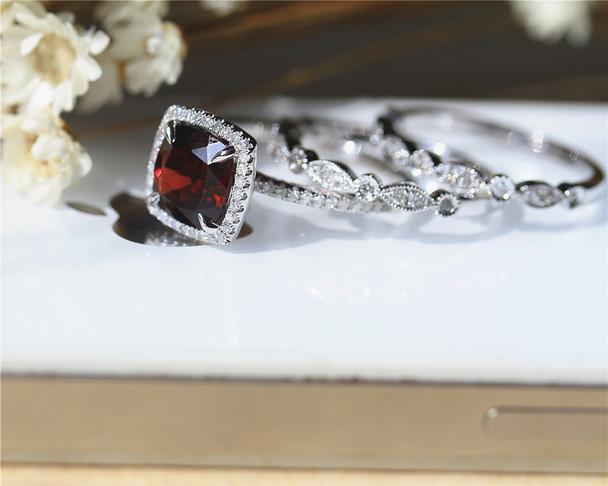 Birthday Gift! 8mm Cushion Natural Garnet Ring Set Solid 14K White Gold Wedding Ring Set