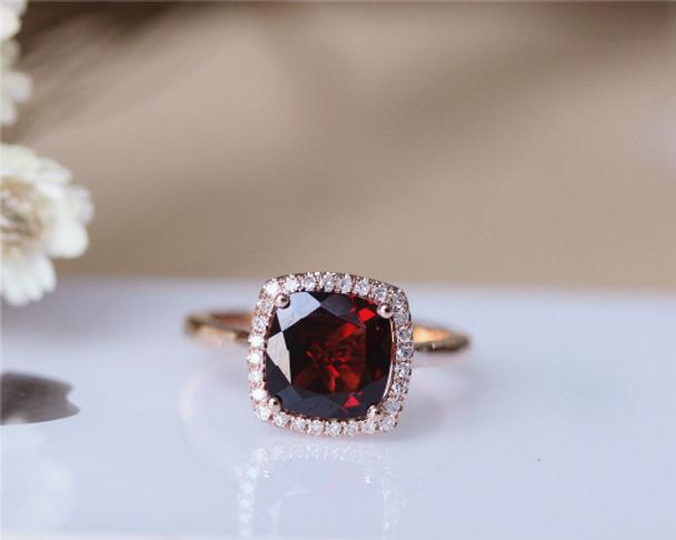 8mm Cushion Garnet Ring Solid 14K Rose Gold Wedding Ring Engagement Ring Anniversary Ring