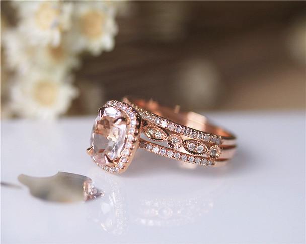 3 RINGS SET! 7X9MM Morganite Ring Set Solid 14K Rose Gold Ring Set Wedding Ring Set