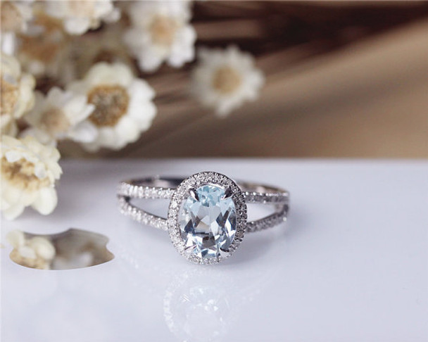 6x8mm Oval Aquamarine Ring Solid 14K White Gold Aquamarine Wedding Ring Engagement Ring