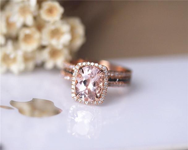 3PCS Engagement Ring Set Solid 14K Rose Gold Ring Set 7x9mm Oval Morganite Ring Set