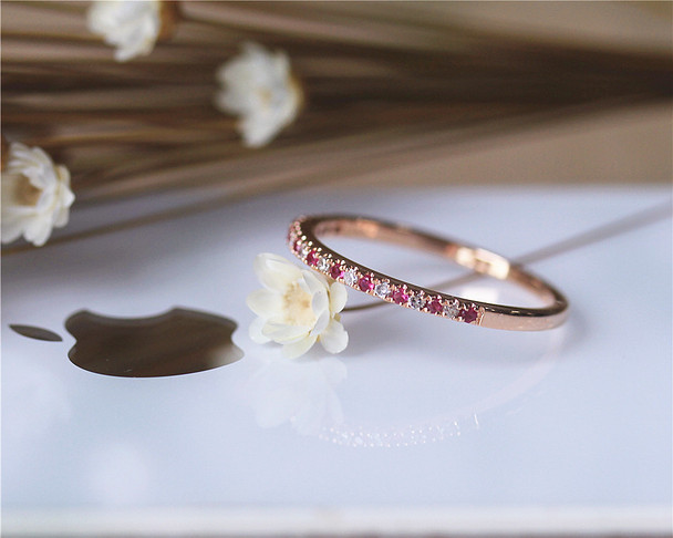 Birthday gift Natural Ruby Band Wedding Band Wedding Ring Solid 14K Rose Gold Ring Engagement Band