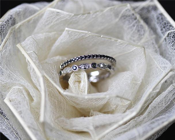 Birthstone Blue Sapphire Diamond Band Set Wedding Ring Set Solid 14K White Gold Engagement Set