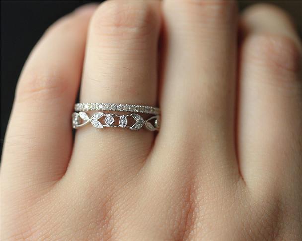 Diamonds Wedding Band Set Wedding Ring Set Solid 14K White Gold Diamond Engagement Set