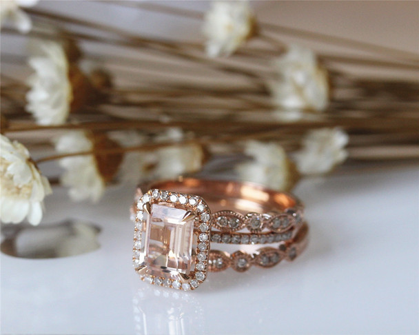 3PCS  14K Rose Gold Morganite Ring Set 8x10mm Emerald Cut Engagement Diamond Ring Set