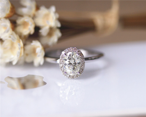 6*8mm Oval Cut Forever Classic Moissanite Engagement Ring Solid 14K White Gold Brilliant Moissanite Ring