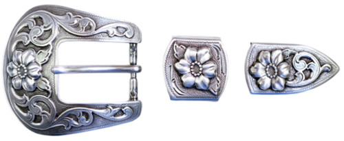 """TBS-S5445 3-Piece Western Buckle Set - Silver Finish - 1"""" or 25mm Wide"""