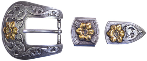 "TBS-S5445G  3-Piece Western Buckle Set - Gold Accents - 1"" or 25mm Wide"