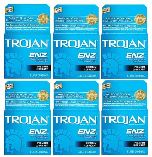 Trojan ENZ Premium Lubricant Latex Condoms, 3 ct, 6 PACKS
